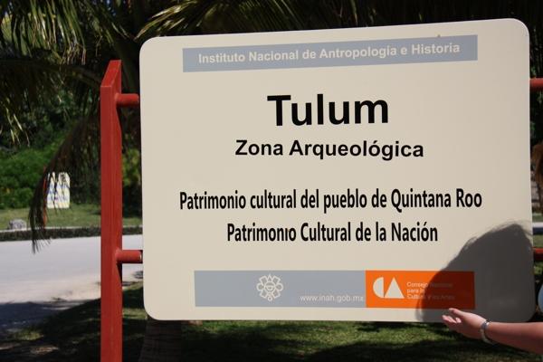 Maya-Tempel von Tulum - Besucherschild
