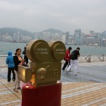 Kamera am Avenue of Stars in Hong Kong