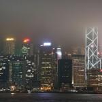 Nebel über der Skyline von Hong Kong