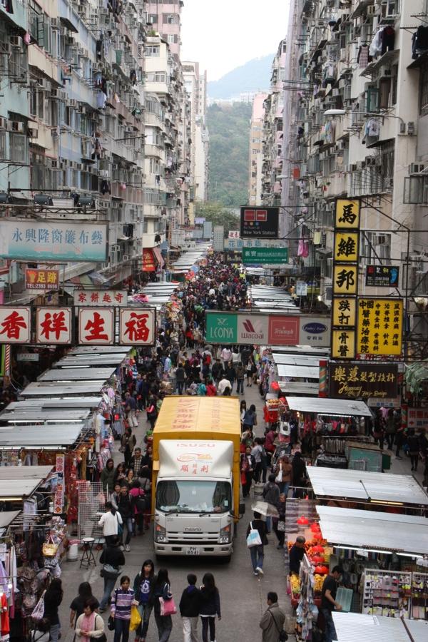 Blick auf den Markt von oben