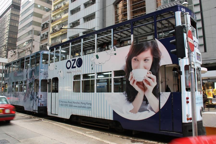 Doppelstöckige Straßenbahn in Hong Kong