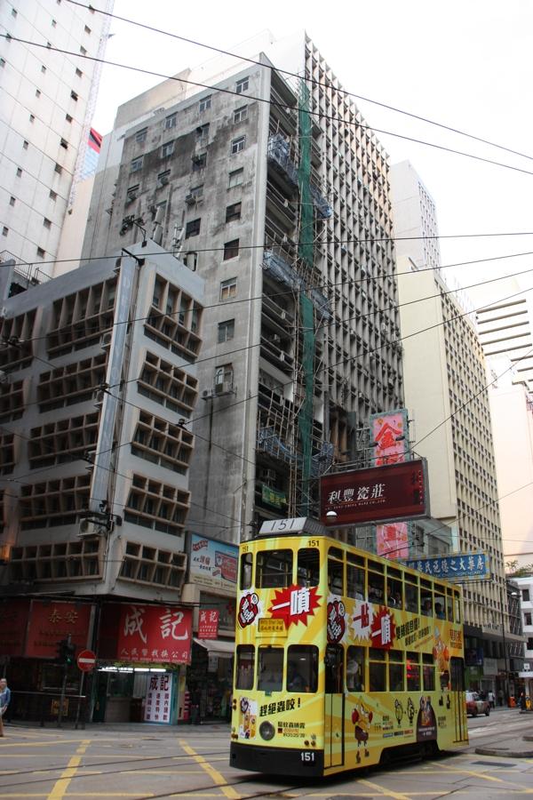 Doppelstöckige Straßenbahn auf Hong Kong Island