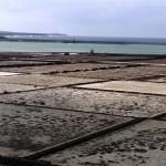 Becken der Salzgewinnungsanlage im Sonnenlicht