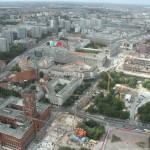 Rotes Rathaus und U-Bahn-Baustelle vom Fernsehturm