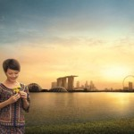 Singapurs Skyline beim Sonnenuntergang