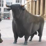 Bulle vor der Börse in Frankfurt