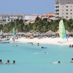 Baden am Palm Beach auf Aruba