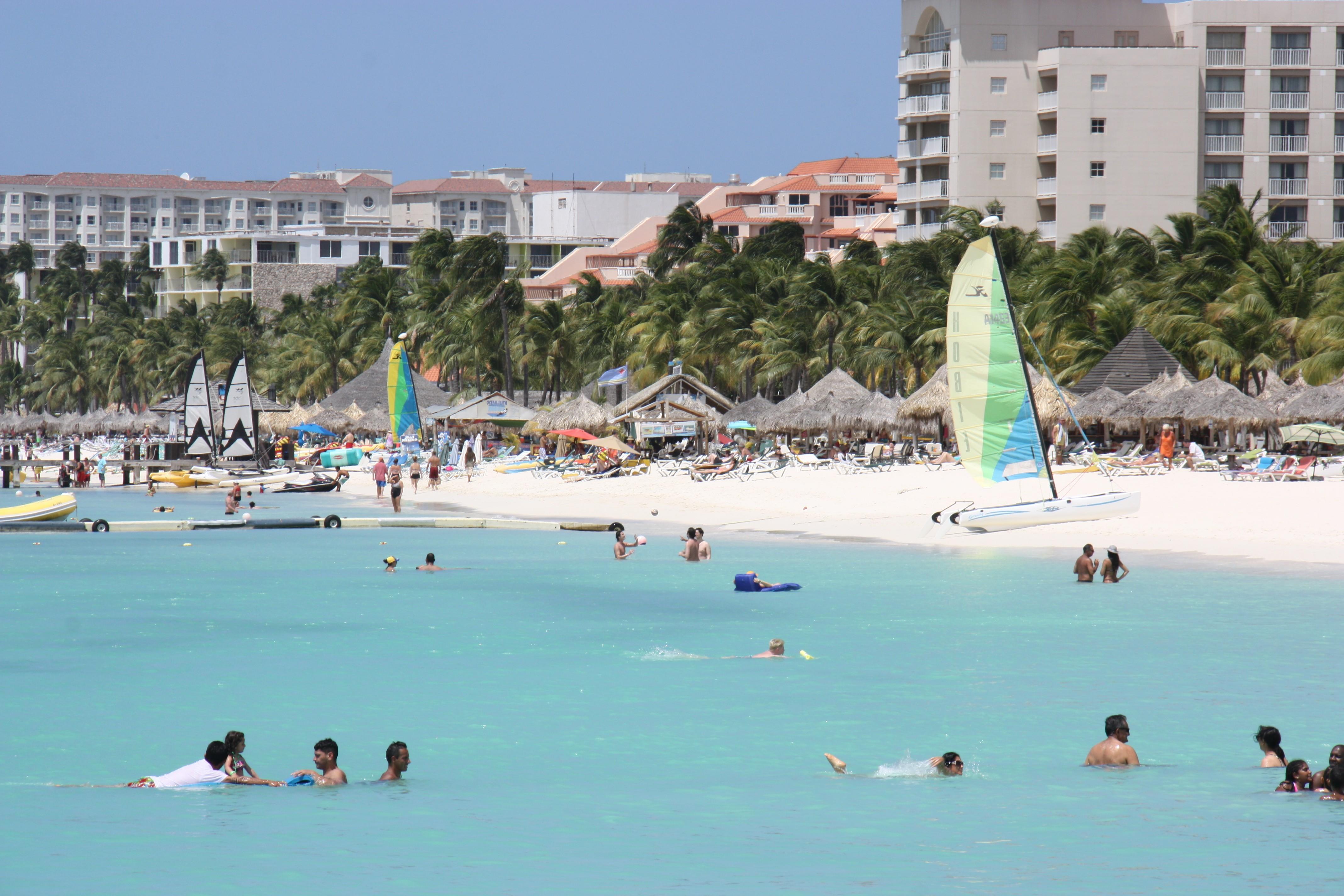 Baden am Palm Beach auf Aruba