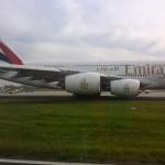 Emirates A380 kurz vor dem Start