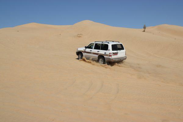 Jeep fährt auf eine Sanddüne