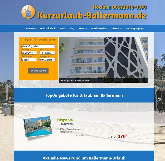 Screenshot Reisewebseite Kurzurlaub-Ballermann.de
